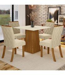 mesa de jantar 4 lugares élida nature/off white/linho - bci móveis