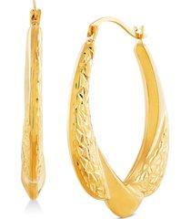 draped oval hoop earrings in 14k gold