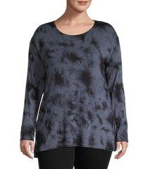 marc new york performance women's plus tie-dye long-sleeve top - black blue - size 1x (14-16)