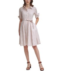 calvin klein plaid belted fit & flare dress