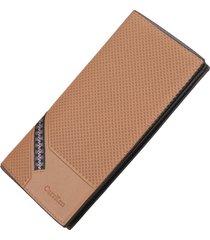 billetera, larga multifunción de tela escocesa con-marrón