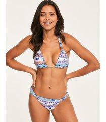 boho floral halter triangle bikini top