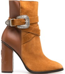 tommy hilfiger two-tone buckle ankle booties - brown