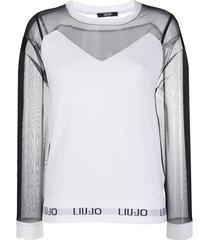 liu jo two-tone sheer-panel sweatshirt - white