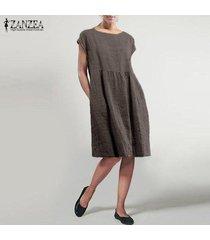zanzea mujeres manga corta cuello redondo camiseta del verano mini vestido vestido de tirantes -marron oscuro