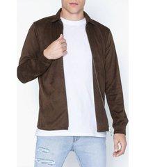 ciszere neo faux suede skjortor mahogany brown