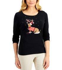karen scott cotton embellished dog long-sleeve t-shirt, created for macy's