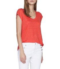 women's sanctuary alma scoop neck slub linen t-shirt, size xx-large - red