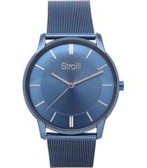 orologio solo tempo nizza con cinturino mesh e cassa in acciaio blu per uomo