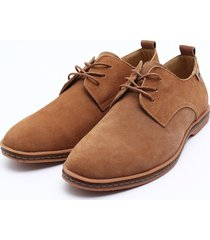 zapatos mocasines oxfords suede casual hombre -marrón