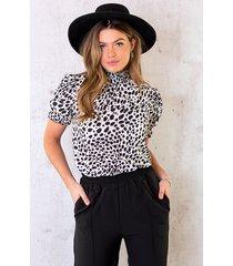cheetah col top zwart wit