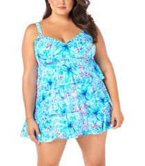 swim solutions plus size printed tiered tummy-control swim dress, created for macy's women's swimsuit
