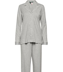 lrl hammond knit collar pj set pyjamas grå lauren ralph lauren homewear