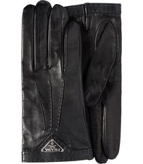 prada logo-plaque slip-on gloves - black
