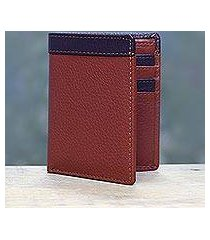 men's leather wallet, 'russet chocolate harmony' (india)
