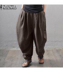 zanzea gran tamaño de las mujeres de la pierna ancha de carga pantalones trajes ocasionales elásticos de la cintura bolsillos sólidos algodón lino harem holgado de café -marrón