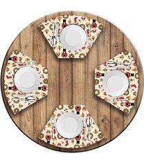 jogo americano   para mesa redonda wevans quebra nozes natalino  love decor