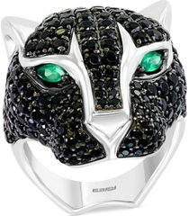 effy men's black spinel and green onyx cat head ring in sterling silver
