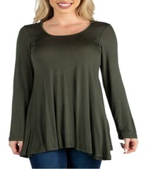 women's long sleeve swing style flared tunic top