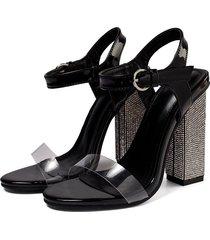 sandalias de tacón alto en color liso para mujer.