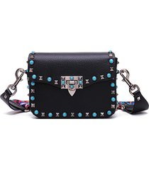 luxury guitar rockstud blue rivet leather designer cross body messenger bags
