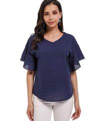 blusa manga tipo vuelo azul nicopoly