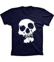 camiseta baby look lu geek caveira azul marinho - azul - feminino - dafiti