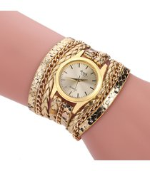 donna orologio a braccialet a multistrati in pelle di lusso alla moda