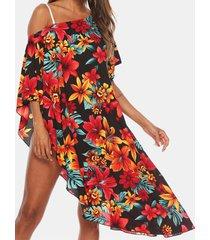 spalla inclinata con stampa floreale plus camicetta bikini da vacanza taglia beaches