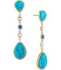 rachel rachel roy gold-tone stone linear drop earrings