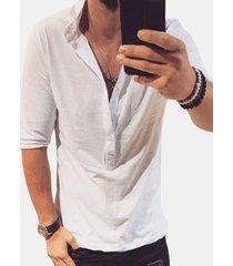 magliette da uomo a manica corta per uomo casual henry collar tinta unita