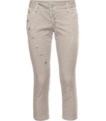 pantaloni 7/8 con abbottonatura obliqua (beige) - rainbow