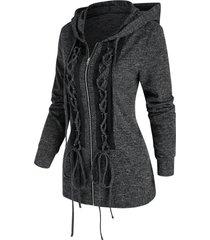 heathered lace up punk jacket
