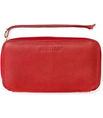 billetera cuero zip rojo bestias
