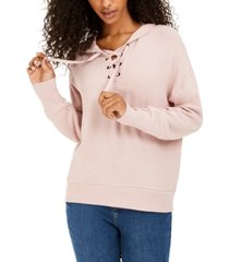 hippie rose juniors' cozy lace-up hoodie