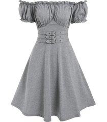 off the shoulder buckle strap marled dress