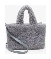 mango women's faux fur shopper crossbody bag