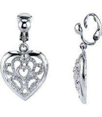 2028 silver tone filigree heart clip drop earrings