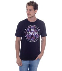 camiseta hawaiian dreams estampada spike flora preta - preto - masculino - dafiti