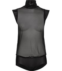 tulle body t-shirts & tops bodies svart wolford