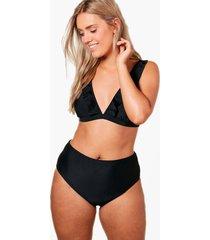 plus frill trim high waist bikini, black