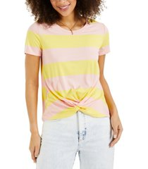 style & co striped twist-front top, created for macy's