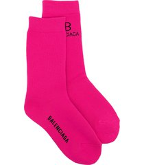 balenciaga intarsia-knit logo socks - pink