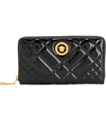 versace quilted patent leather wallet - black