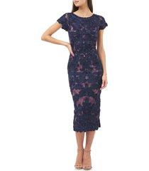 women's js collections soutache lace midi dress, size 4 - blue
