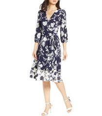 women's eliza j floral print faux wrap dress