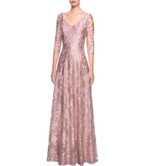 women's la femme floral embroidered a-line gown