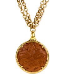 "patricia nash leather-inset double-chain 28"" pendant necklace"