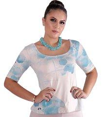 blusa ficalinda meia manga estampa exclusiva maxi floral decote redondo evasê