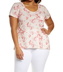 plus size women's caslon rounded v-neck tee, size 1x - pink